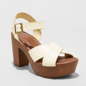 Estella Faux Leather Wood Bottom Crossband Pumps